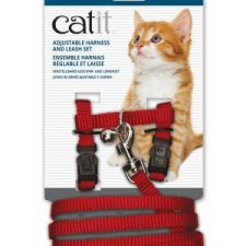 CATIT NYLON CAT/KITTEN ADJUSTABLE HARNESS AND LEAD SMALL RED