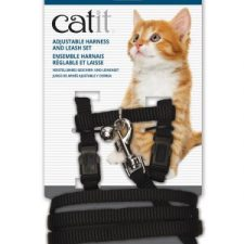 CATIT NYLON CAT/KITTEN ADJUSTABLE HARNESS AND LEAD SMALL BLACK
