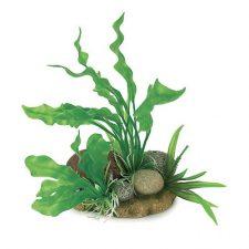 AQUA CARE ORNAMENT ROCKS W/PLANT 19CM