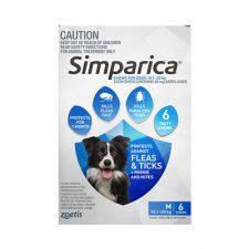 SIMPARICA DOG MED 10.1-20KG BLUE 6 PK