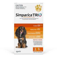 SIMPARICA TRIO DOG SML 5.1-10KG ORANGE 3PK
