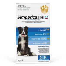 SIMPARICA TRIO DOG MED 10.1-20KG BLUE 6PK